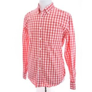 J Crew Button Down Gingham Check Red Sz L